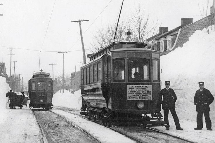 Tramway sur la rue des Érables en 1898 Québec (Ancienne Ville Montcalm)