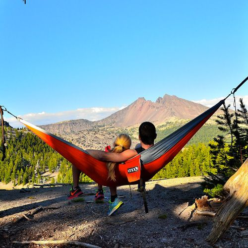 A hammock for two lovebirds. ENO DoubleNest Hammock || The Rugged Twosome — Camping for Couples