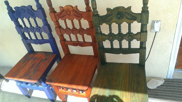 Refinished Mexican chairs - come sit awhile and visit www.mainlymexican.com #Mexico #Mexican #chair