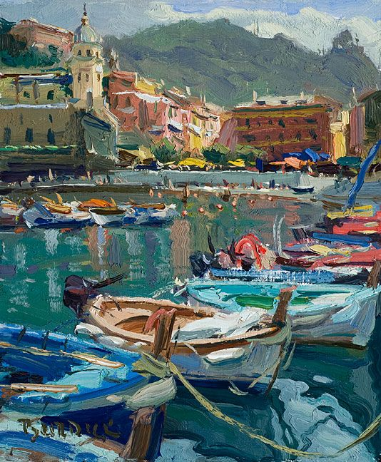 'Vernazza Boats', Cinque Terra, Italy by Scott Burdick, oil painting.