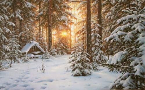 Картины (живопись) : В зимнем лесу