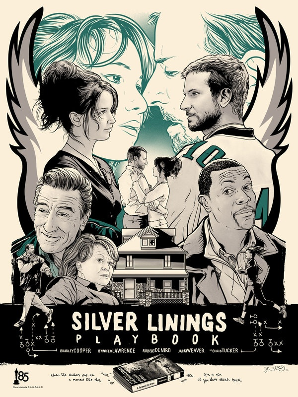 Art Inspired by the Oscar Nominated Best Pictures:    SILVER LININGS PLAYBOOK by artist Joshua Budich
