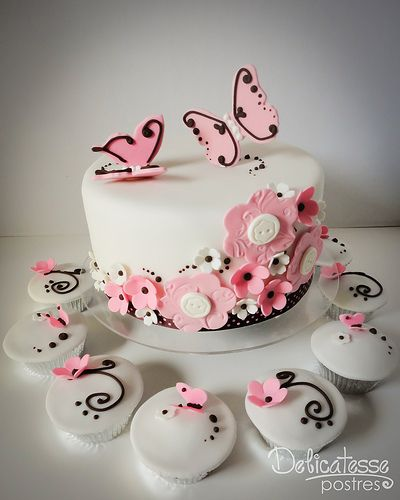 Flowers & Butterflies Choco Pink Cake by Delicatesse Postres