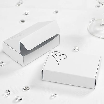 10 CAKE SLICE BOXES Wedding Party Favours WHITE SILVER HEART Guests Gift Box