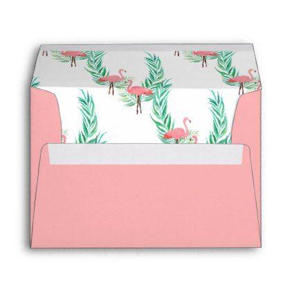 #Coral Pink with Watercolor Flamingo Lining Envelope - #Wedding #Printed & #Mailing #Envelopes #weddinginvitations #wedding #invitations #party #card #cards #invitation