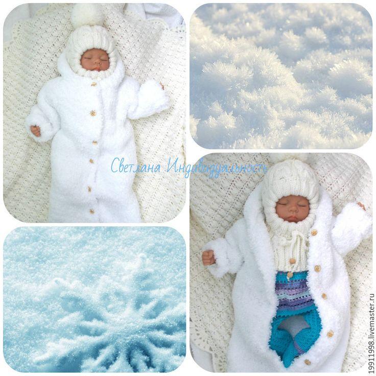 Купить Комплект Мишутка1 - белый, однотонный, для новорожденного, для новорожденных, одежда для новорожденных, комбинезон, вязание спицами
