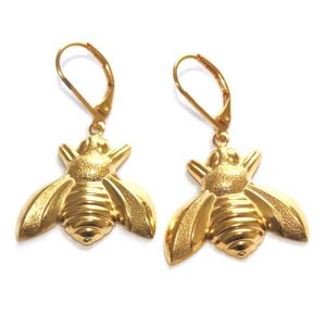 14k gold-plated bee earrings