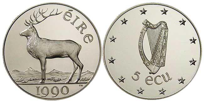 Irish Coin Values   Irish Presidency Commemorative 5 Ecu Silver coin