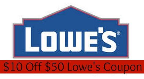 Use this Lowe's coupon code to save $10 off any purchase of $50 or more at Lowe's.