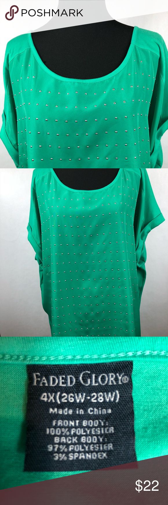 "Faded Glory Women's Green short sleeve4X (26W-28W) Beautiful Faded Glory Women's Green short sleeve top with silver embellishments on the front. Fabric: 100% polyester on front and 97% polyester and 3% spandex on the back. Size: 4X (26W-28W) Measurements: 30"" Armpit to armpit 28"" Top of shoulder to the bottom of the shirt The shirt is 2 inches longer in the back  Excellent condition Faded Glory Tops Tees - Short Sleeve"