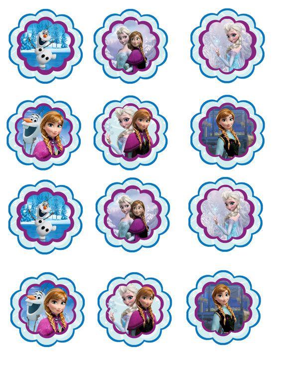 Instant download Frozen birthday cupcake toppers printable DYI jpg cake winter Frost frozen Disney Elsa Anna
