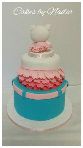 The back of the Hello Kitty Cake that I made for a lil girl who loves jeans and doilies! From Cakes by Nadia