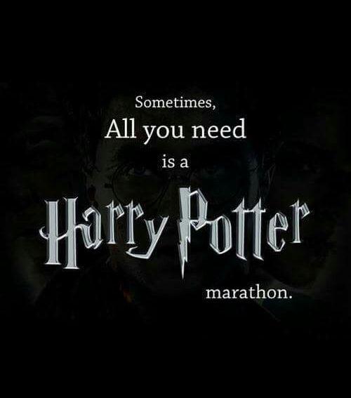 As vezes, tudo o wue você precisa é de uma maratona de Harry Potter.