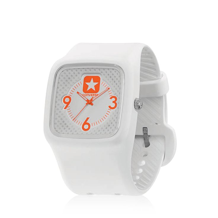 Converse - Clocked - Stainless steel screw in back case, Luminescent black hands, Pin buckle. You've been clocked. A modern take that's substantial yet understated--and anything but square. One piece construction with molded 3-hand dial. Luminescent hands.