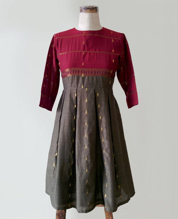 Red and Olive Green Cotton Silk Pleated Dress made by MograDesigns