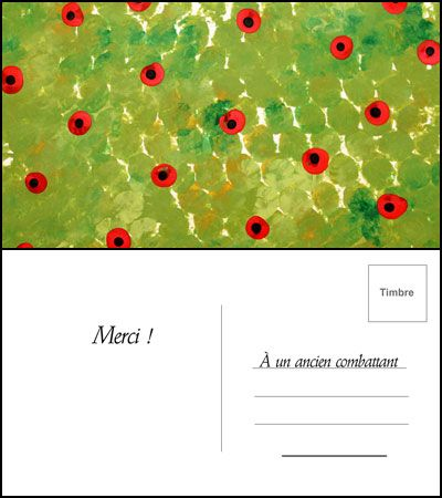 Créez une carte postale avec l'arrière plan fait d'impressions de plastique à bulles.  Quand votre carte est prête, envoyez-la à un vétéran.  #coquelicot #Animasiettes #Souvenir #plastiquebulle #cartepostale #tutoriel #veteran #DIY #video