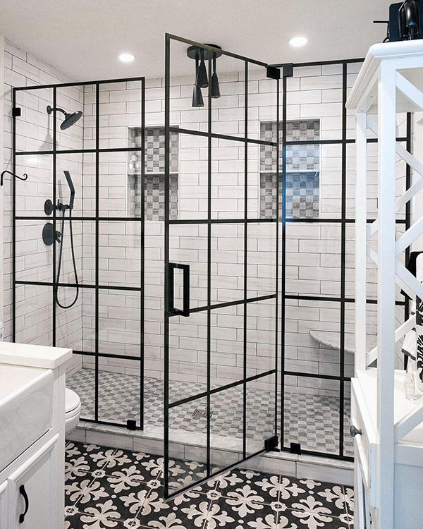 This Black Window Pane Shower Swinging Shower Door Is Available With Your Rebath Omaha Bathroom R Shower Doors Frameless Shower Doors Bathroom Tile Inspiration