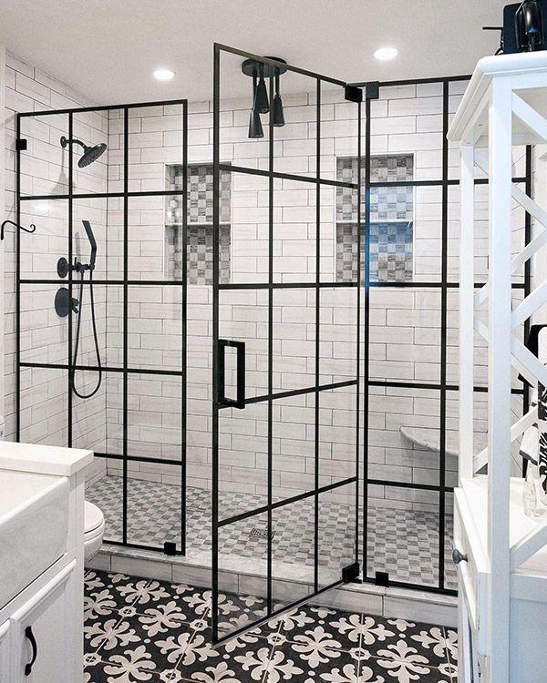 This Black Window Pane Shower Swinging Shower Door Is Available