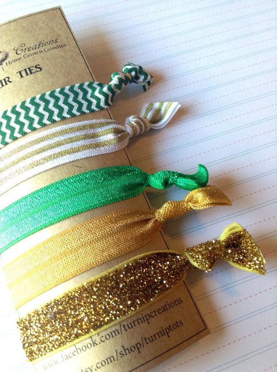 FOE Hair Ties Gold Green Glitter and White Glitter Chevron Pony Tail Holder Elastic Baylor Green Bay Packers Turnip Creations