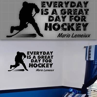 Hockey Wall Quote,Hockey Wall decal Silhouettes, Hockey players room decor