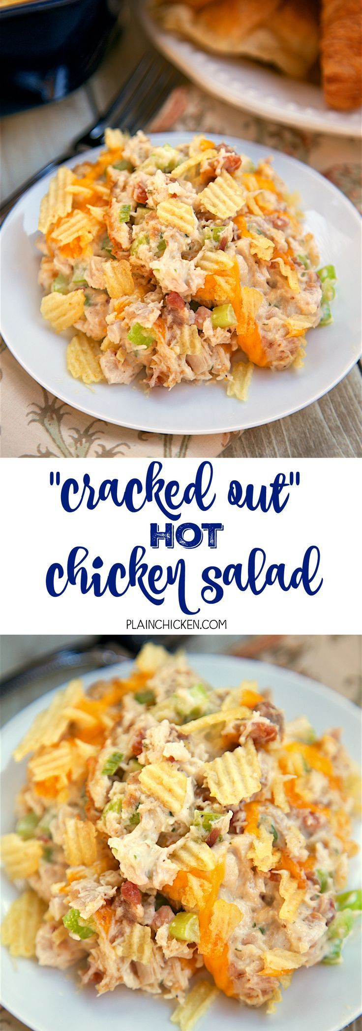 """""""Cracked Out"""" Hot Chicken Salad - baked chicken salad loaded with cheddar, bacon and ranch! Chicken, mayonnaise, celery, lemon juice, cheddar cheese, worcestershire, bacon, ranch dressing mix, potato chips. SOOO good! Can make ahead of time and refrigerat"""