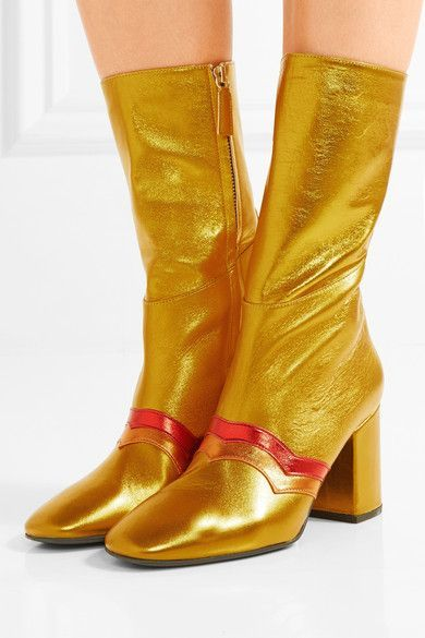 Heel measures approximately 80mm/ 3 inches Gold, red and orange leather Zip fastening along side