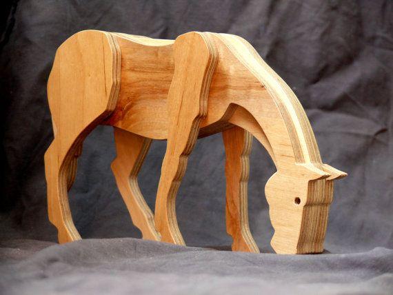 Caballo de madera juguetes de madera caballo estatuilla