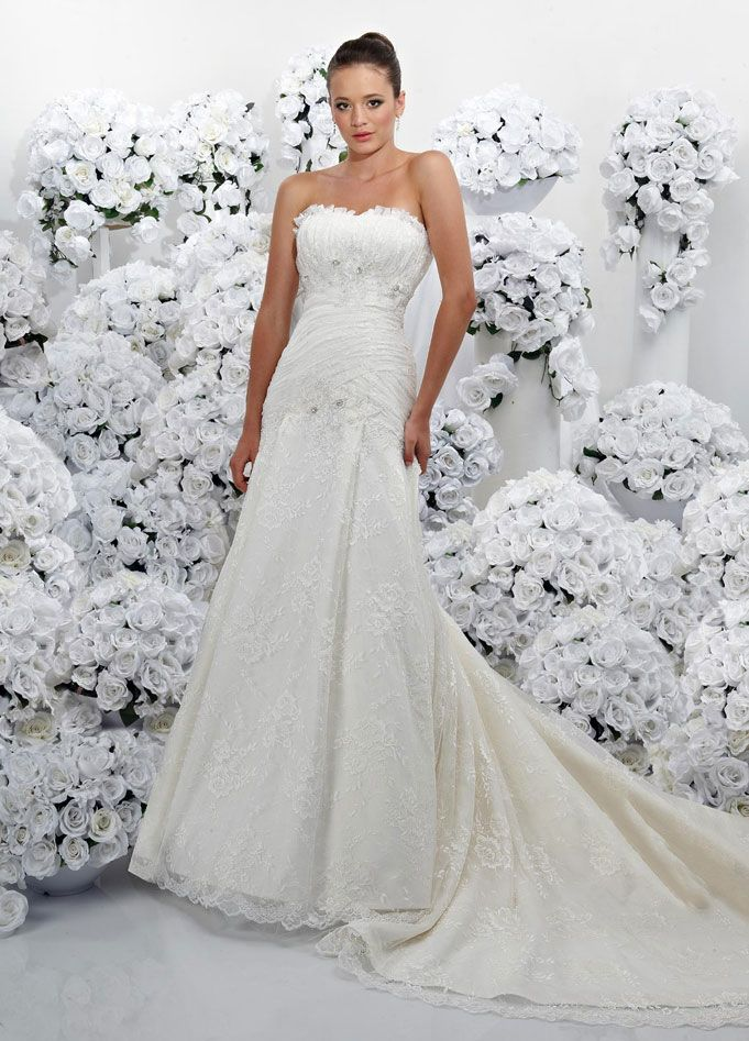Cute A line sleeveless lace floor length bridal gown