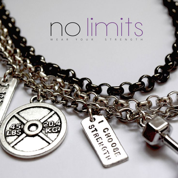 www.NoLimits.net.au Handmade fitness inspired jewellery. Chunky layer necklace with weight plate, kettle bell, dumbbell  and strength charms