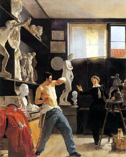 Wilhelm Bendz - The Sculptor Christensen in his studio 1827