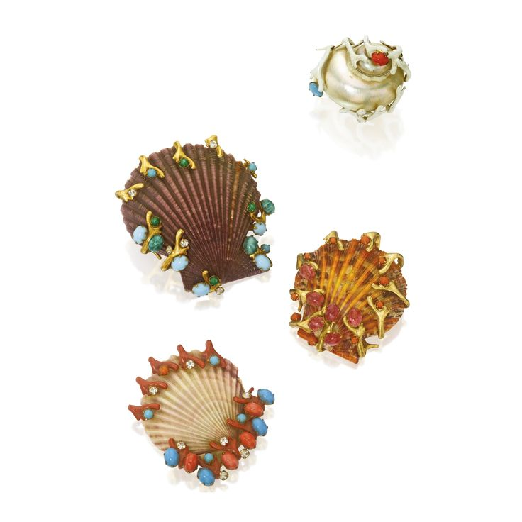 A Group of Four Shell Brooches, Kenneth Jay Lane | Lot | Sotheby's..Mrs. Paul Mellon $16,000.00