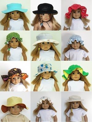 Sewing patterns for 18 inch American Girl doll - HAT COLLECTION to download