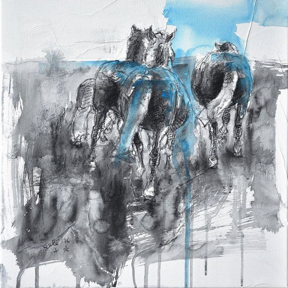 Pony Art, Animal, Modern Original Fine Art, Watercolor, Acrylic and Black Chalk Painting of a Herd of Ponies