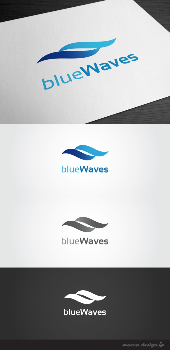 Blue Waves Logo by Mocca Design, via Behance