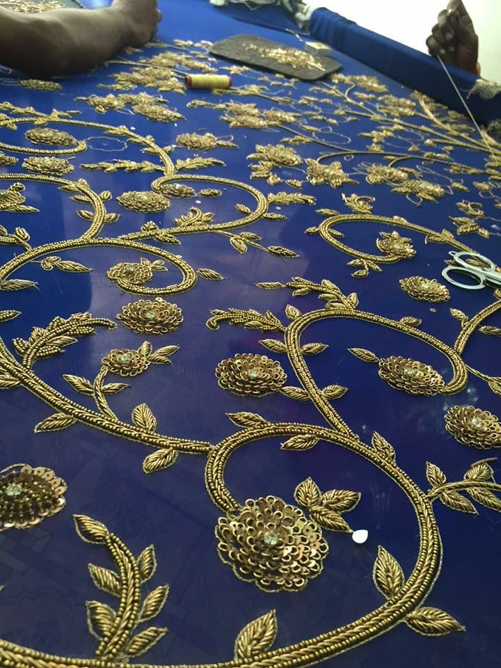 Golden sari embro with navy blue base