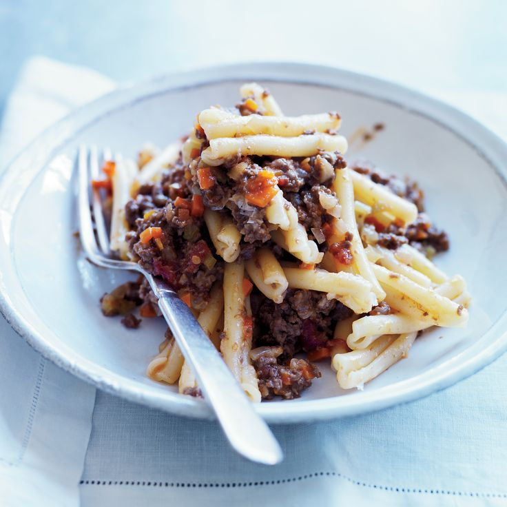 Michael Symon changes up the usual pasta Bolognese with nicely gamy ground venison and the chewy-tender short pasta called cavatelli.