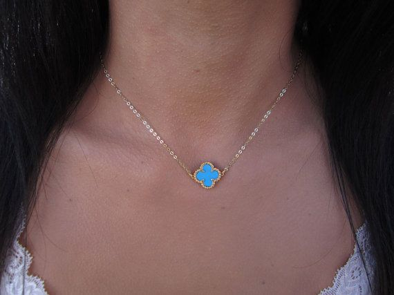 Turquoise Clover Necklace 14K Gold Necklace 4 by VasiaAccessories