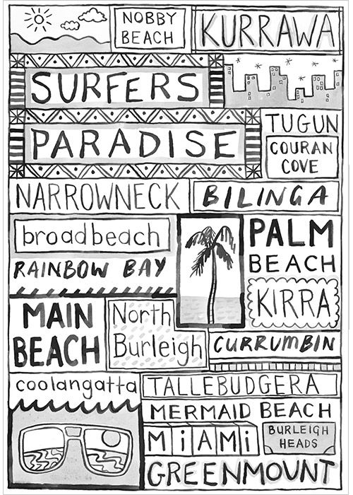 Surfers Paradise travel art print represents the famous Gold Coast Beaches in Queensland with fresh, modern coastal style