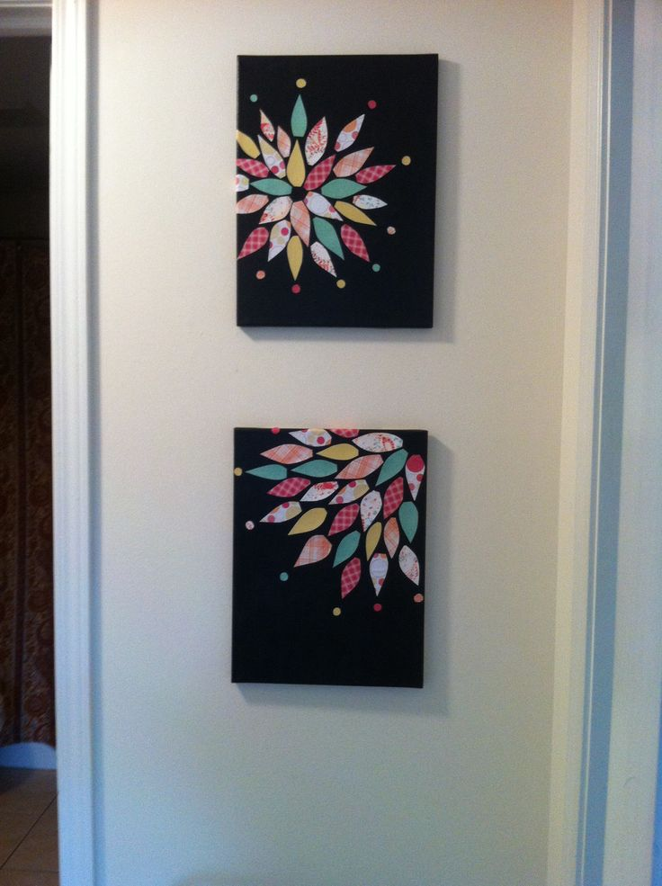 Simple wall art ...all you need is some paint, canvas and scrap book paper of your choosing