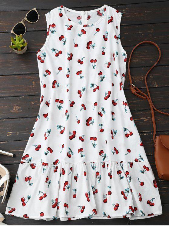 Sleeveless Cherry Ruffle Dress - WHITE M