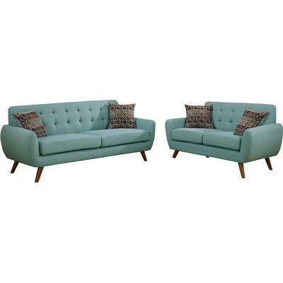 Infini Furnishings Modern Retro Sofa And Loveseat Upholstery: Baby Laguna  Blue