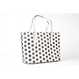 Minx Bag White and Black Spot A bag with room for all your essentials by MINX in three spot prints. Adjustable handles (long enough to put over your shoulder), zip top closure, two inside zip pockets and 2 other inside slotsfor your cell phone andbits and pieces. Lovelyblack withwhite spot lining. DIMENSIONS: 39cm long. 28cm high. 16cm deep.