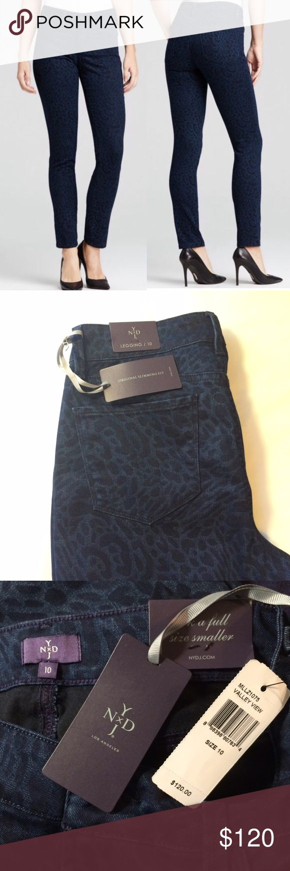 """NYDJ 🆕 Valley View Slimming Jean Legging size 10 NYDJ Valley View Slimming Jean Legging size 10. New with tags. Royal blue and black all over cheetah print. Waist measures 16"""" flat across at back. Inseam is 31"""". Front rise 10"""", rear rise 16"""". Offers welcome. NYDJ Pants Leggings"""