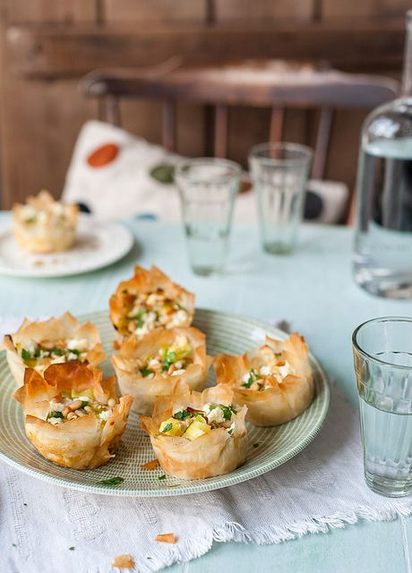 Leek and Feta Filo Tartlets