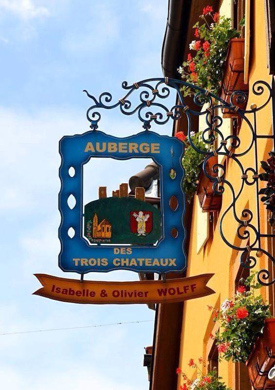 """Auberge """"Des Trois Chateaux"""", Eguisheim, France."""