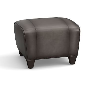 Manhattan Leather Ottoman With Bronze Nailheads Polyester