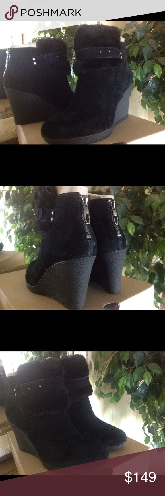 Ugg Black Suede Wedge Boots Ugg Antonia Black Suede Wedge Boots with Shearling cuff and shearling toe bed.  Brand new w/box.  No trades. UGG Shoes Ankle Boots & Booties