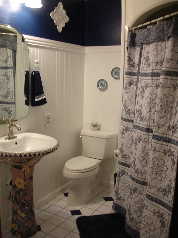My Finished Bathroom, With A Mosaic Pedestal Sink And Quilted Shower Curtain