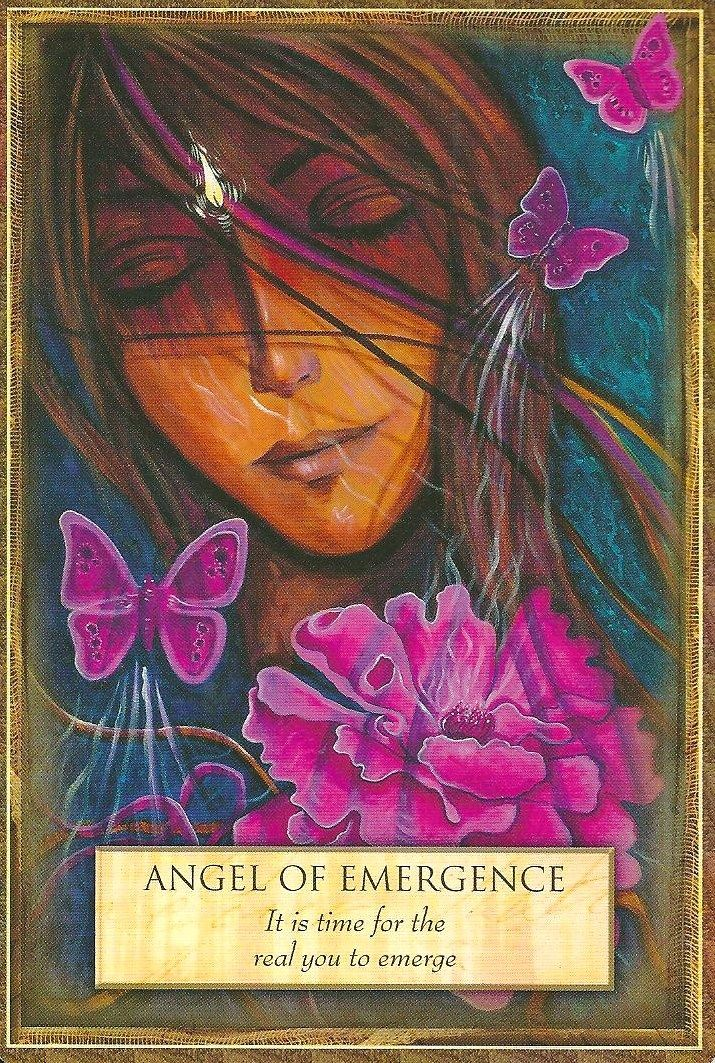 The angel of emergence is from the Angels, Gods & Goddesses deck of cards by Toni Carmine Salerno