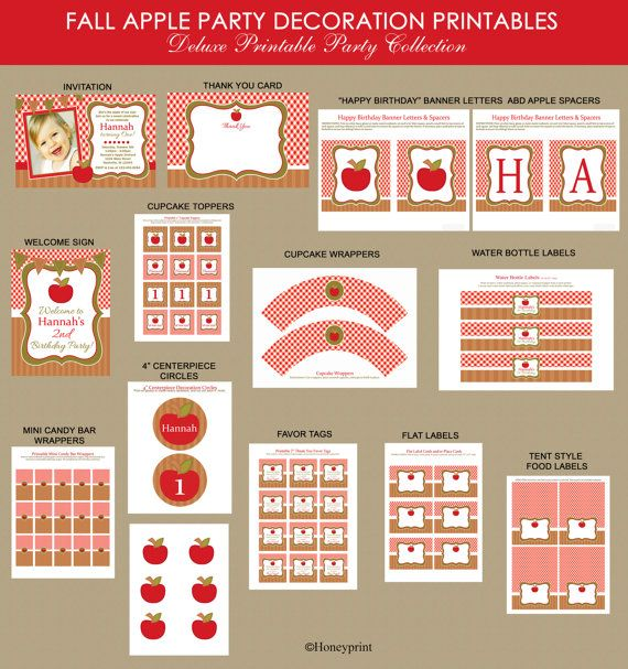 Apple Birthday Party Printables Package Fall Harvest by Honeyprint